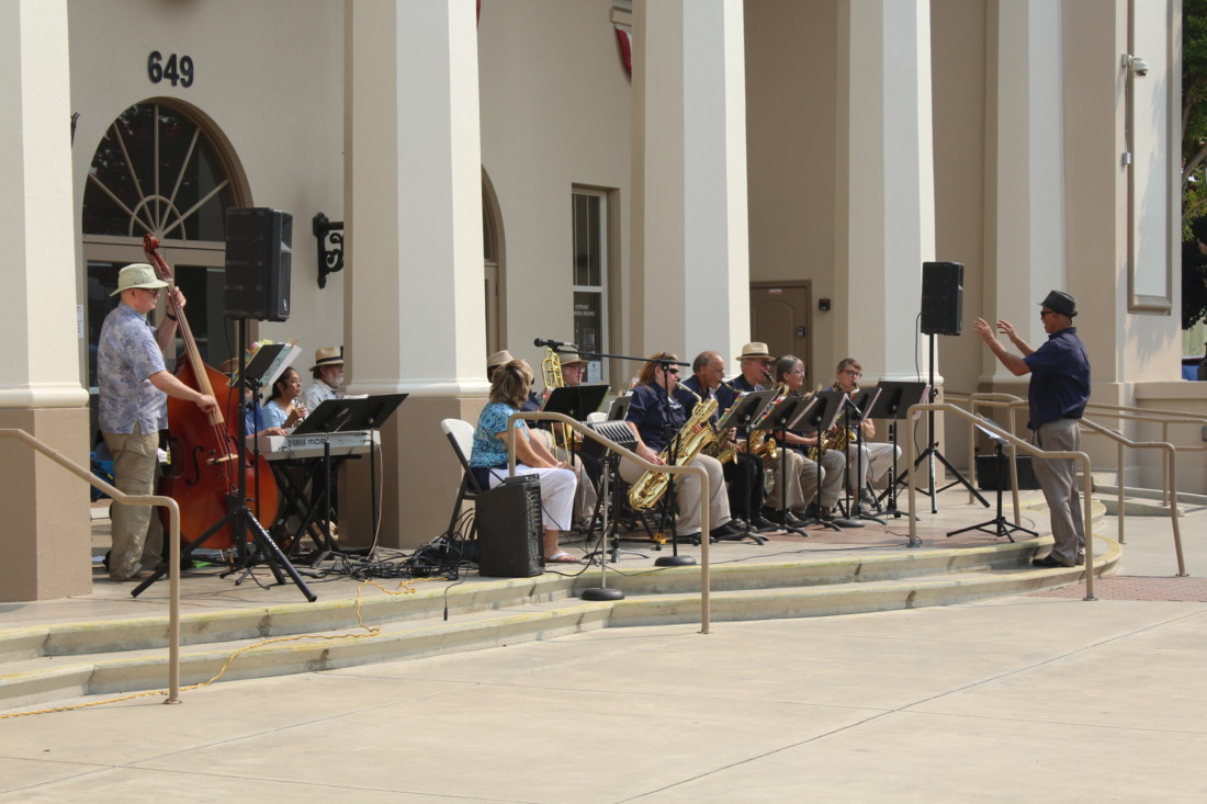 Pacific Pop 'n' Jazz Band (formerly known as Mr. O's Jazz Band) had their debut performance a the Hollister Veterans Memorial Building on Saturday. Photo by Jenny Mendolla Arbizu.