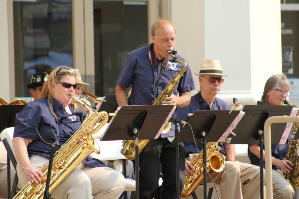 Hollister native, Les Pierce (and former student of Mr. O's), performing a saxophone solo with the Pacific Pop 'n' Jazz Band. Photo by Jenny Mendolla Arbizu.