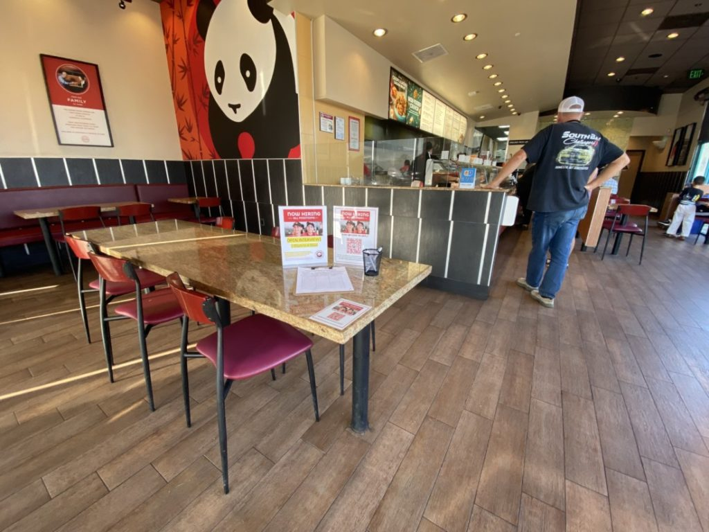 Panda Express, at 1740 Airline Hwy, saves a dining table for job interview sign-ups. Photo by Jenny Mendolla Arbizu.