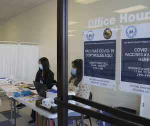 County staff at the Vaccination site at 351 Tres Pinos Road. Photo by Noe Magaña.