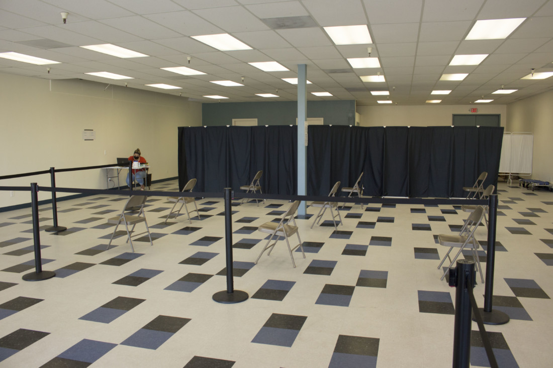 An empty waiting area at the San Benito County Public Health Services vaccination site. Photo by Noe Magaña.