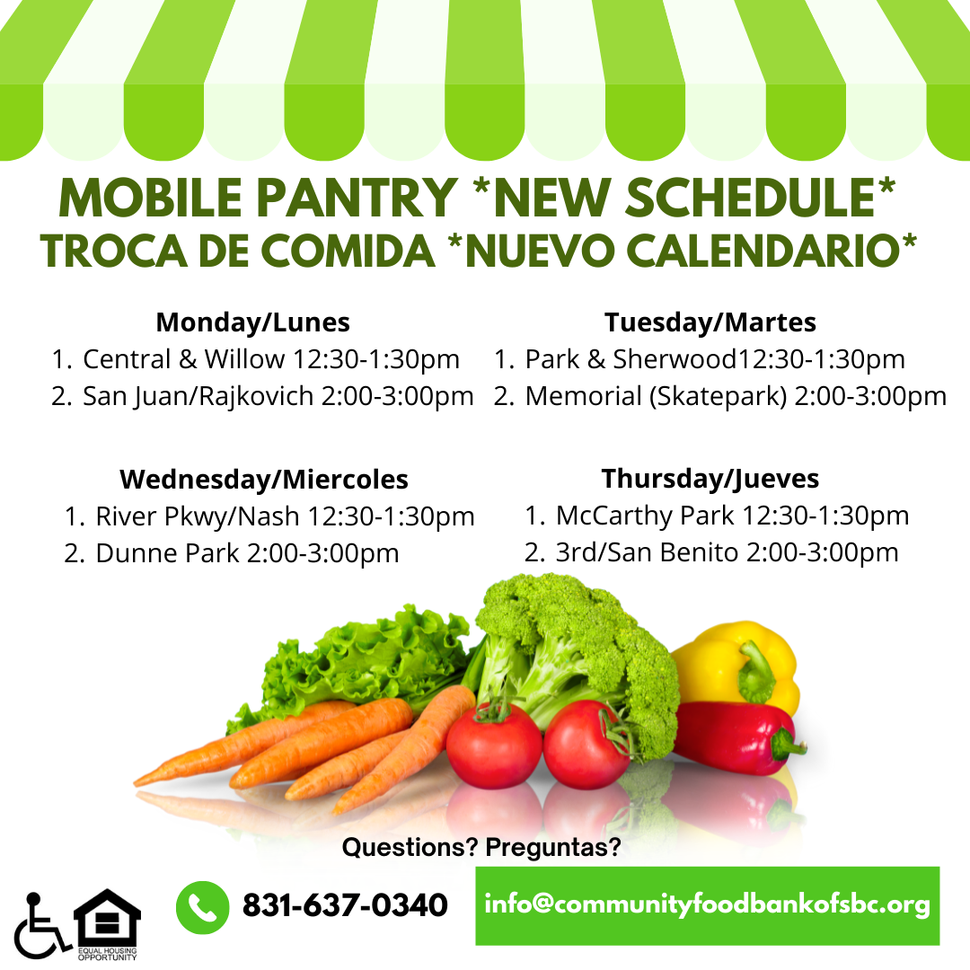 New Mobile Pantry Schedule. Image provided by Sarah Nordwick.