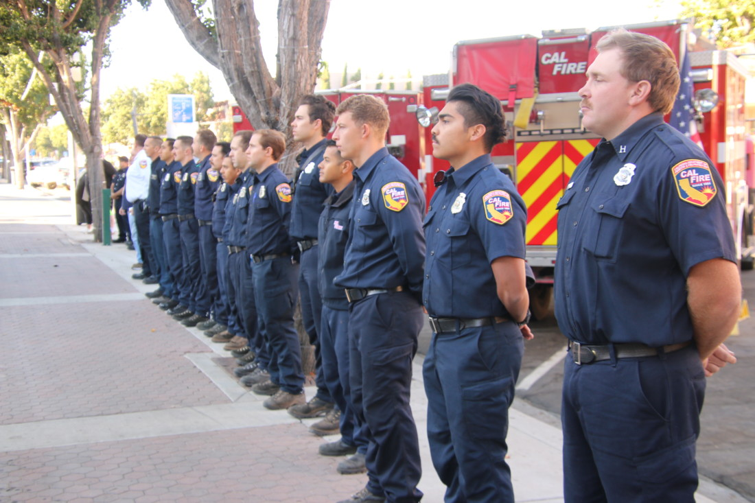 Hollister firefighters and other first responders took part in the 20th anniversary of 9/11 at the Veterans Memorial Building. Photo by John Chadwell.