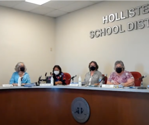 The Hollister School District Board of Trustees and Superintendent Erika Sanchez (right) at the Sept. 28 board meeting. Image from Youtube.