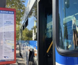 Rapid 568 bus at a bus stop. Photo provided by VTA