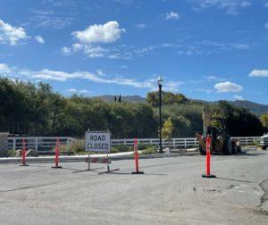 Road closed into Rancho Vista subdivision ahead of the roundabout construction. Photo by Robert Eliason.